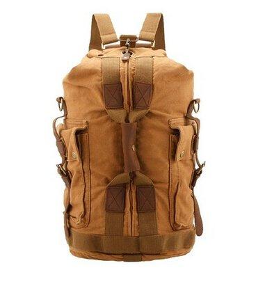 Marrywindix Outdoor Vintage Hiking Canvas Backpack Rucksack for Travel Khaki
