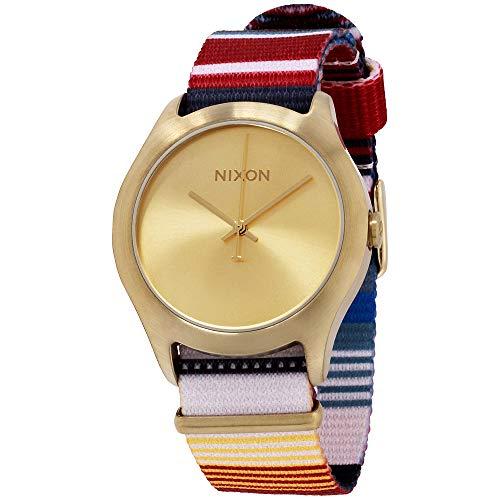 Nixon Mod Gold Dial Canvas Strap Ladies Watch A348168500