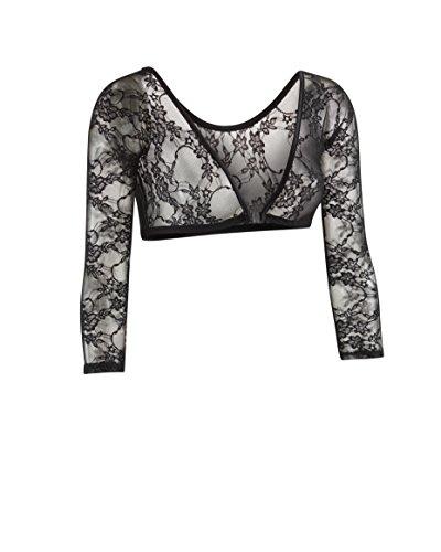 Sleeve Long Camisole (Sleevey Wonders Women's Basic 3/4 Length Slip-on Lace Sleeves M Black)