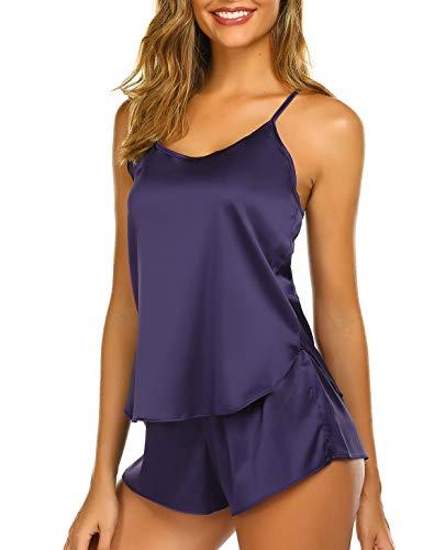 Ekouaer Sleepwear Womens Sexy Lingerie Satin Pajamas Cami Shorts Set Nightwear Purple