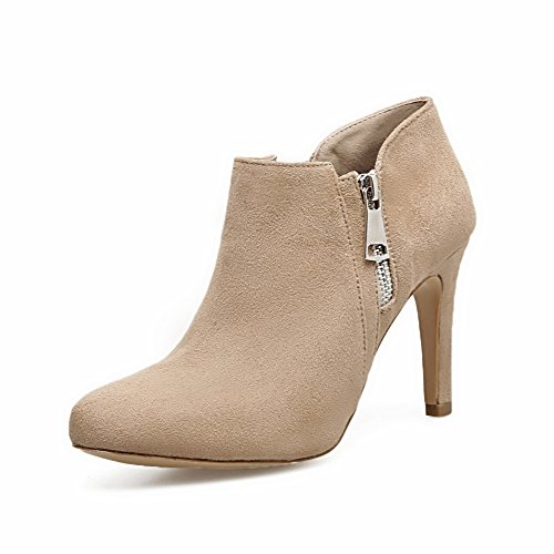 AdeeSu Womens Dress Low-Top Zipper Microfiber Boots apricot wpKW5HmB4