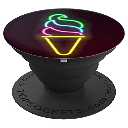 Cute Ice Cream Pop Socket Cone on Black - PopSockets Grip and Stand for Phones and Tablets