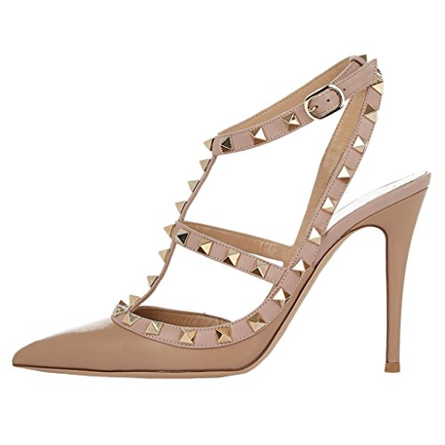 Women's High Heels,MERUMOTE Ankle Straps Rivets Shoes for Wedding Party Daily Wear Pumps Beige-Matte