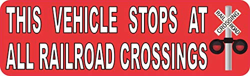 StickerTalk 10x3 Vehicle Stops at Railroad Crossings Magnet Car Truck Vehicle Magnetic Sign