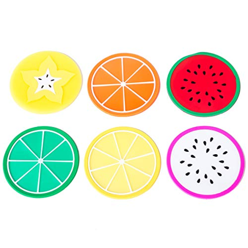 6 Pack Colorful Fruit Slices Silicone Beverage Coasters Drinks Coffee Tea Tabletop Protection Wood Granite Glass Marble Table Lemon Lime Orange Watermelon Dragonfruit Star Fruit 3.5 Inch