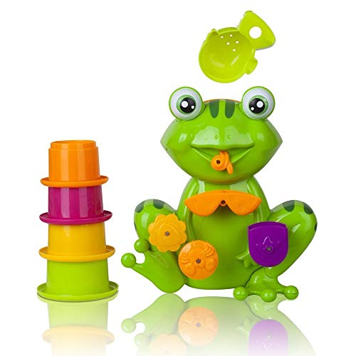 LoLa Ling Interactive Green Frog Bath Tub Fun Toy with 4 Stacking Cups Non-Toxic, Bright Colors, Safe Bath Toy for Toddlers and s ()