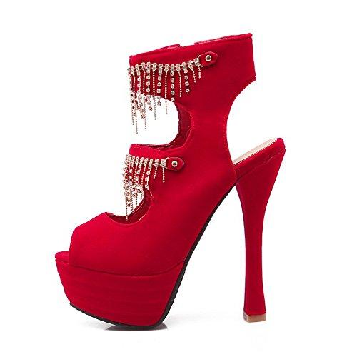 AllhqFashion Womens High-Heels Zipper Imitated Suede Solid Peep Toe Sandals Red cPqTRb