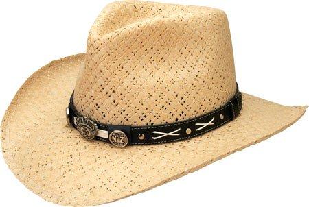 Jack Daniels Mens Daniels Soft Toyo Straw Cowboy Hat Natural Medium