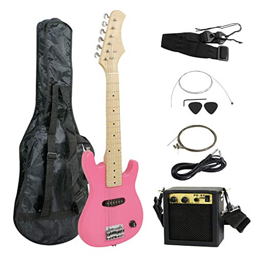 """Smartxchoices 30"""" Kids Girls Pink Beginner Electric Guitar with 5W Amp,Gig Bag,Strap, Cable,Picks,Wrench,Strings Guitar Combo Accessory Kit"""