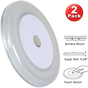 """RV Boat Ceiling Light 12 Volt LED Puck Light Ultra Thin Inbuilt Touch Dimmable Switch for Travel Trailer Sailboat Interior Lighting Surface Mount 3"""" 4W Warm White(Pack of 2)"""