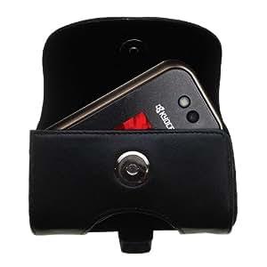 Funda horizontal en piel negra para E2000 Tempo de Kyocera con clip para el cinturón y con opción de hebilla; un diseño de Gomadic