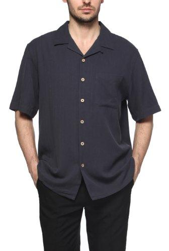 Sandals Cay Men's Herringbone Silk Camp Shirt - Navy XL