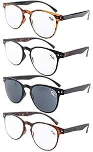 Eyekepper 4-Pack Round Full Coverage Ultrathin Flex Frame Reading Glasses Sunshine Readers +1.5