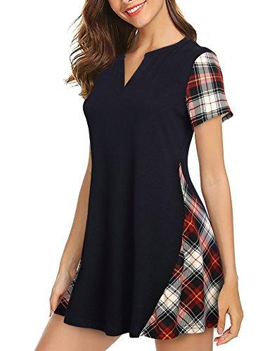 (Vafoly Tee Shirts Tunic, Women's Summer Casual Loose Plaid Short Sleeve V Neck Flowy Tunic Top Black L)