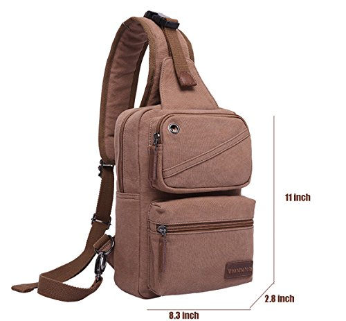 Chest For Shoulder Bag Sling Mmondschein Travelling Hiking Crossbody Cycling Bag Khaki Fashion Daypack Canvas xEzxSqwd