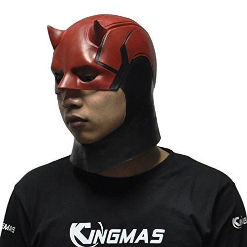 [KINGMAS Daredevil Mask, Marvel Toys Movie Cosplay Men's Latex Costume Prop, Party Halloween Mask] (Daredevil Costumes Marvel)