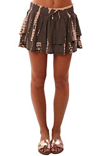 (Vintage Havana Skirts Smocked Waist Tiered Ruffle Beaded Tie Dye Flow - Grey - M)