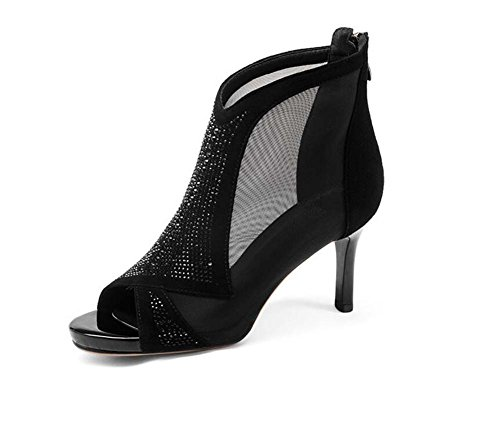 SHINIK da Estate New High Stati donna Europa Sandali in con e Scarpe Zipper Uniti Diamond Fish Mouth Nero Fine pelle Heels sandali rZwnYq5rB