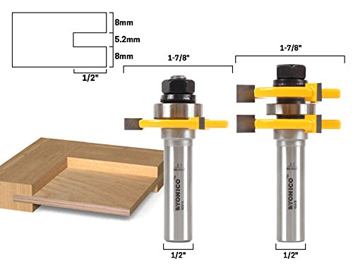 Yonico 15231 1/4-Inch Plywood 2 Bit Plywood Tongue and Groove Router Bit Set 1/2-Inch Shank - Bit Cabinet