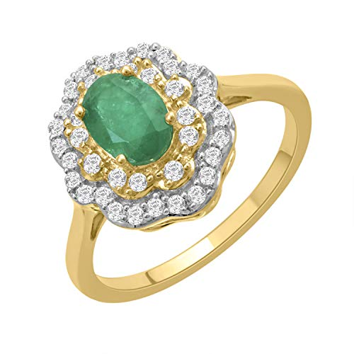 - 10k Two-tone White and Yellow Gold Oval Emerald and Diamond Double Halo Ring, Size 7