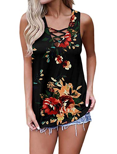GOCHIC Women's Criss Cross Casual Cami Shirt Sleeveless Tank Top Floral Lace up Blouse #1Black S