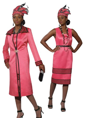 Top Quality Designer High Fashion Hot Pink Dress and Long Jacket Set 5427