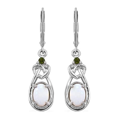 925 Sterling Silver Platinum Plated White Opal Chrome Diopside Earrings
