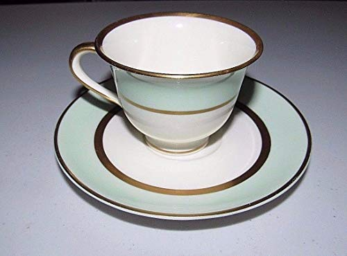 Pope Gosser Demitasse Cup & Saucer Spring Green, White. and Coin Gold