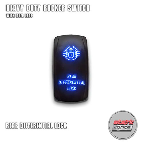 (REAR DIFFERENTIAL LOCK - Blue - STARK 5-PIN Laser Etched LED Rocker Switch Dual Light - 20A 12V ON/OFF)