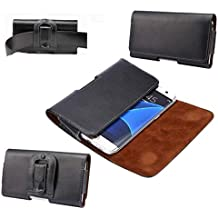 DFV mobile - Case Belt Clip Genuine Leather Horizontal Premium for => QMOBILE Q Infinity > Black
