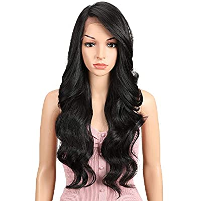 "JOEDIR 26"" Big Curly Wavy Free Part Lace Frontal Wigs With Baby Hair Hight Temperature Synthetic Human Hair Feeling Wigs For Black Women 180% Density Wigs Ombre Color 200g"