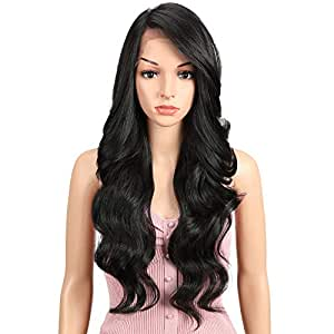 """JOEDIR 26"""" Big Curly Wavy Supreme Free Parting HD Lace Frontal Wigs With Baby Hair High Temperature Synthetic Wigs For Black Women 180% Density Natural Black Color Wigs 230g(1B)"""