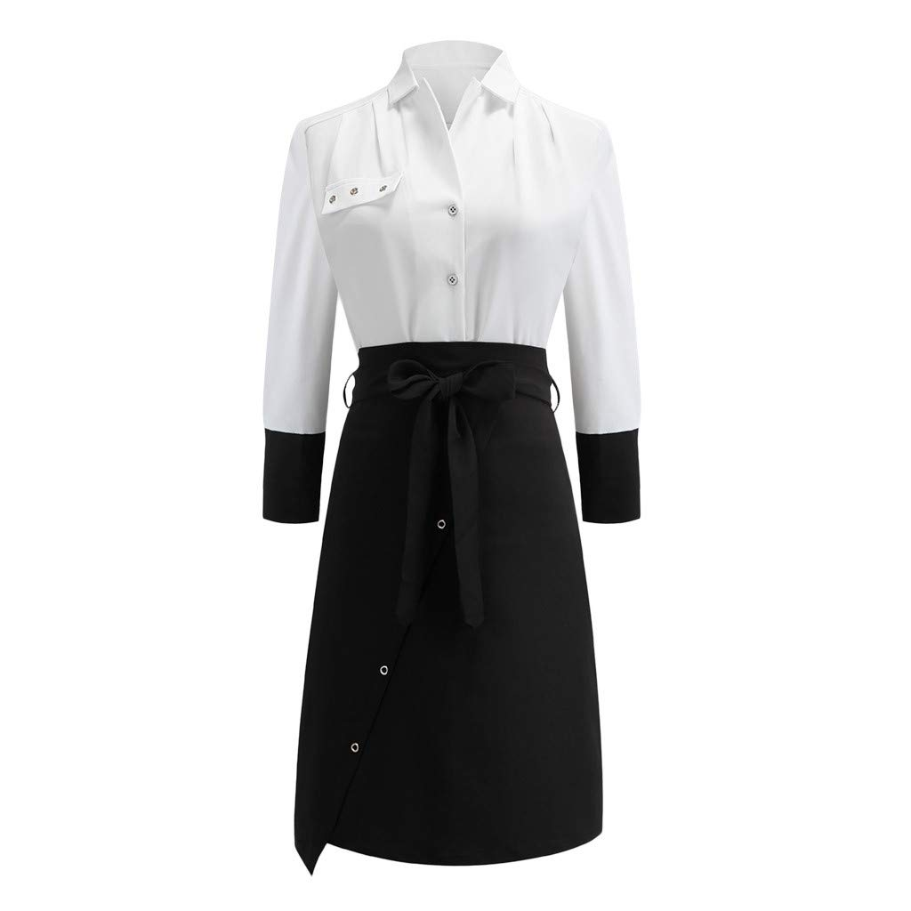 Opeer Women Dresses for Special Occasions Work Black and White Panel Button Long Sleeve Belted Ladies Dress (White, L)