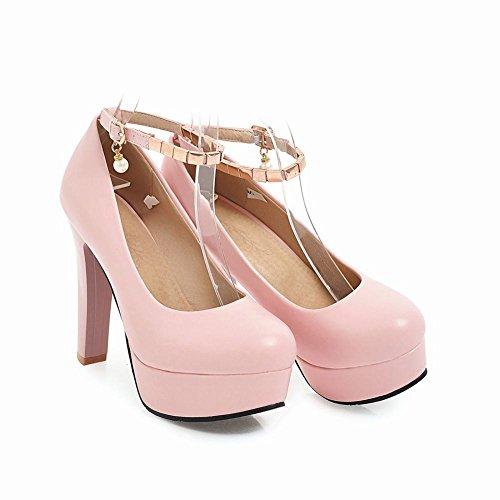 ... Mee Shoes Damen High Heels Ankle Strap Plateau Pumps Pink ...