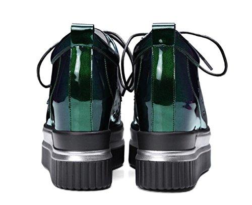 Zapatillas con Verde Las Interiores Mujer de de Deporte Plataforma Altas Cordones Charol Zapatos Ocasionales Zapatillas de Mujeres de Deporte de 6fxH81wn