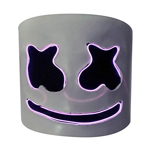 JaCos DJ Marshmello Mask Led Marshmello Helmet Cosplay Full Head Latex Mask Music (white-led) -