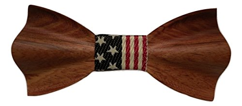 TrendyLuz USA American Flag Patriotic Wooden Bow Tie - Handcrafted Wood Collection (Cherry Wood)