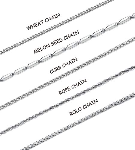 Hanpabum 5Pcs 3mm Stainless Steel Necklace Chain For Men Women Rope Curb Link Box Square Rolo Cable Chain Set