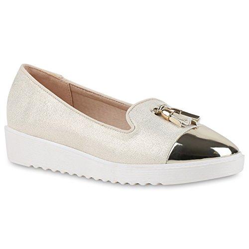 Damen Slipper Loafers Schleifen Glitzer Flats Profilsohle Schuhe Flandell Gold Quasten Lack