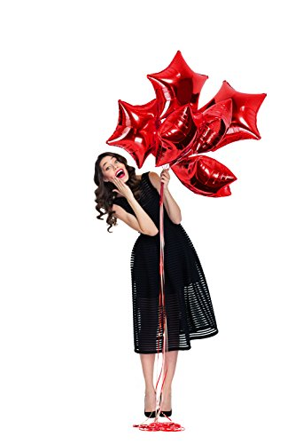 Treasures Gifted Red Foil Star Shape Mylar Balloons | 18-Inched Xmas Stars Outside Pentagram Decoration for Graduation, Christmas, America Celebration or Anniversary| Pack of 6 - 18 Red Mini Roses