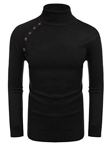 Coofandy Men's Casual Knitted Ribbed Turtleneck Slim Fit Pullover Sweaters with Buttons,US XL,Black