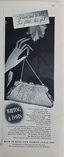 Whiting & Davis 1953 Vintage Gold Mesh Handbag Purse Ad