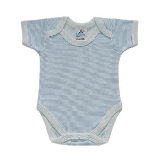 BabywearUK Blue Stripe Env Neck Short sleeve Body vest - 3-6months - British Made