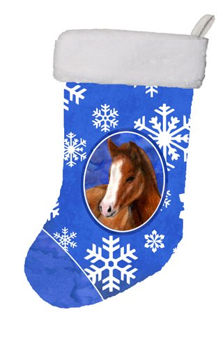 Caroline's Treasures Horse Foal Winter Snowflakes Holiday Christmas Stocking, 11 x 18
