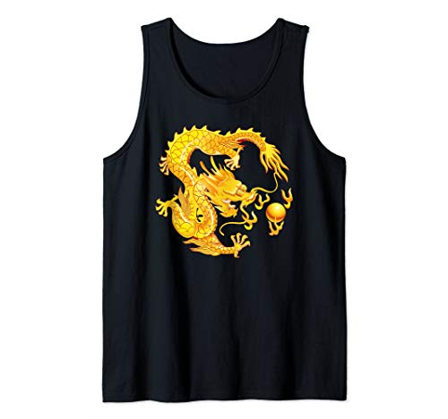 (Fearless Fantasy Chinese Dragon Magic Fire Ball Tank Top)