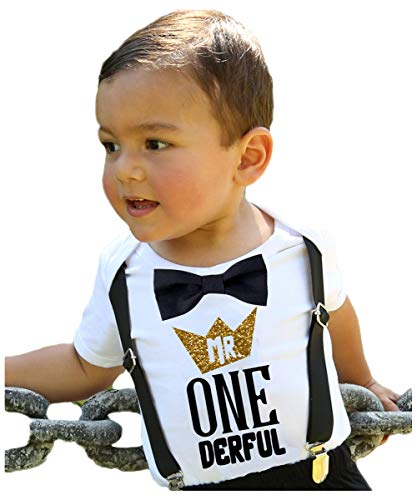 Noah's Boytique Mr Onederful First Birthday Shirt Outfit Boy with Black Bow Tie Suspenders and Gold and Black Saying Cake Smash 1st Birthday Party 6-12 Months ()