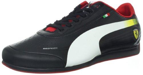 PUMA Men's Evospeed 1.2 Low Ferrari Fashion Sneaker,Black/White/Rosso Corsa,13 D US