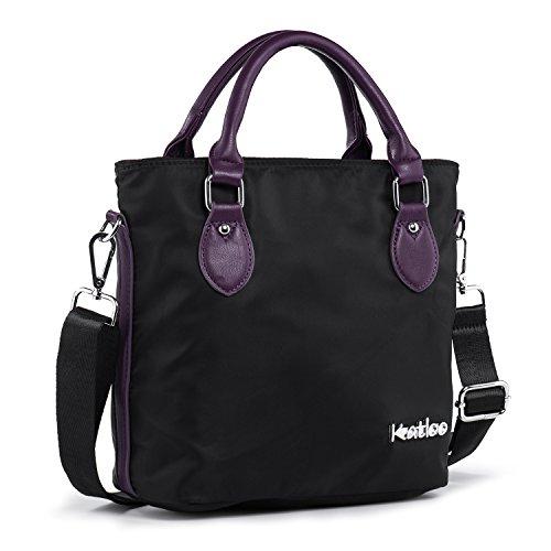 Top Handle Bag Small Nylon Handbags for Women Crossbody Tote Bags Handbag Purses Lightweight Water Resistant Katloo (Black)