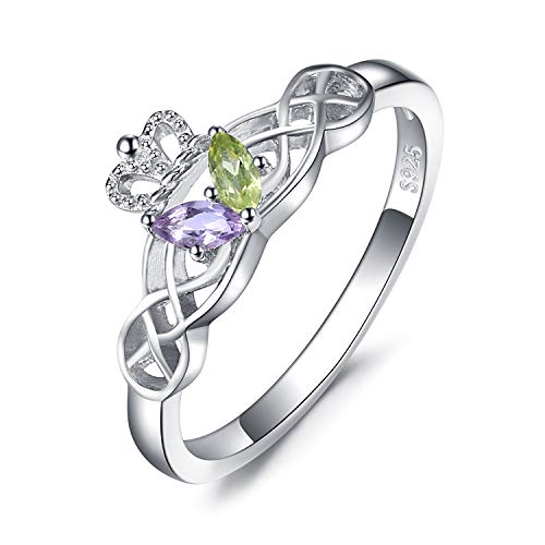 Claddagh Ring Heart Amethyst Celtic (JewelryPalace Butterfly Celtic Claddagh Marquise Green Peridot Purple Amethyst Promise Ring 925 Sterling Silver Size 8)