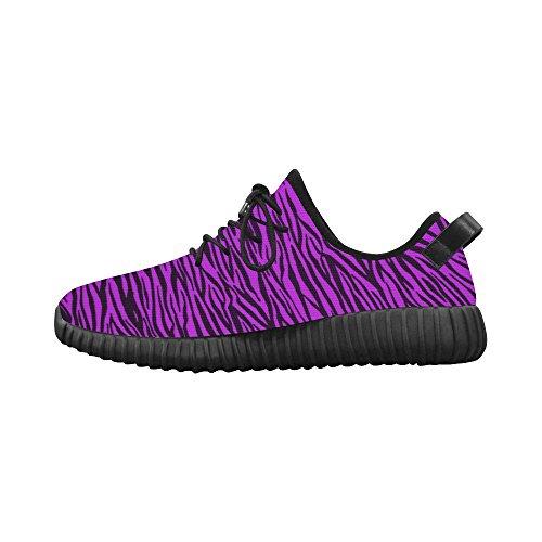 D-story Custom Purple Zebra Stripes Grus Dames Ademende Geweven Loopschoenen (model 022)